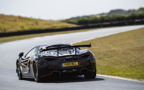 Picture black, coupe, McLaren, turn, track, 2020, V8 twin-turbo, 620R, 620 HP, 3.8 L.