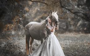 Picture girl, pose, horse, dress, Marketa Novak, Bаra Markovа