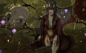 Picture Girl, Japan, Rain, Asian, Warrior, Head, Asia, Swamp, Japan, Fantasy, Asian, Warrior, Fiction, Rain, Samurai, …