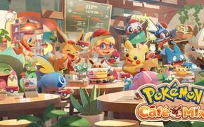Picture Pokemon, Pikachu, Charmander, Lucario, Sobble, Rowlet, Pokémon Coffee Mix, Eevee, Ludicolo, Stoutland, Starly, Munchlax