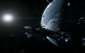 Picture space, planet, Star Citizen, spaceship