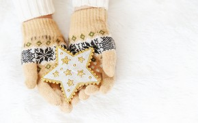 Picture winter, snow, snowflakes, star, love, christmas, star, pink, winter, mittens, snow, hands, snowflakes