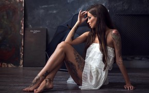 Picture sexy, pose, model, portrait, umbrella, makeup, figure, dress, tattoo, hairstyle, brown hair, legs, sitting, in …