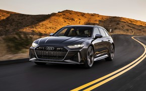 Picture Audi, hills, universal, on the road, RS 6, 2020, 2019, dark gray, V8 Twin-Turbo, RS6 …
