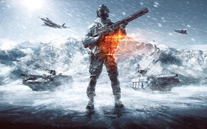 Picture snow, weapons, soldiers, Blizzard, equipment, tanks, aircraft, Battlefield 4
