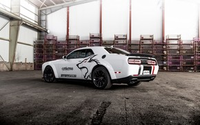 Picture white, back, Dodge, Challenger, side, GeigerCars, 2019, SRT Hellcat Cerberus