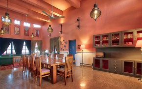 Picture Villa, interior, living room, dining room, house Rajasthan's Sambar, heritage hotel, on the banks of …