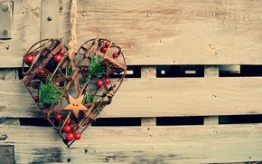 Picture heart, New Year, Christmas, love, Christmas, heart, wood, New Year, decoration, Happy, Merry