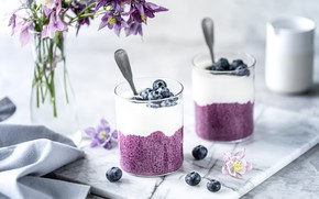 Picture berries, Breakfast, glasses, fruit, nuts, granola, Chia seeds