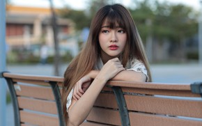 Picture girl, hair, Asian, cutie, bench, bokeh