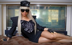 Picture girl, model, singer, hair, artist, Lady Gaga, blonde, glasses, pose, pop, celebrity