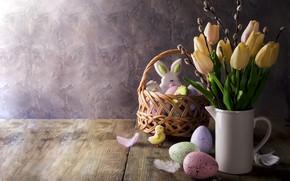 Picture holiday, bouquet, cookies, Easter, vase, basket, glaze, Easter, composition, tulip, egg