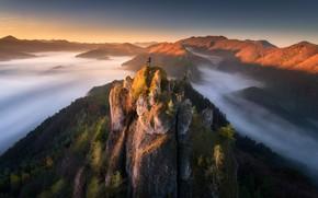 Picture clouds, landscape, sunset, mountains, nature, rocks, tourist, Slovakia, National reserve, Суловские скалы, Sulov rocks