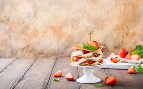 Picture berries, strawberry, pancakes, cream, Iryna Melnyk
