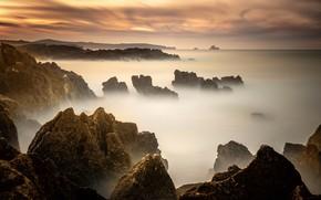 Picture sea, the sky, sunset, fog, stones, rocks, dawn, shore, rocky