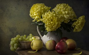 Picture flowers, table, apples, bouquet, yellow, grapes, pitcher, still life, chrysanthemum