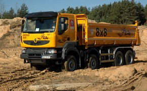 Picture orange, truck, Renault, 8x8, quarry, dump truck, four-axle, Renault Trucks, Kerax