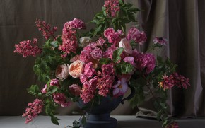 Picture roses, bouquet, begonia