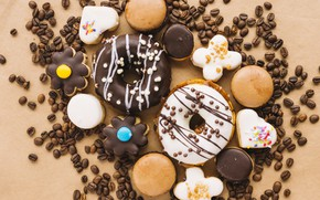 Picture cookies, donuts, dessert, coffee beans, cakes, sweet