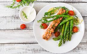 Picture lemon, plate, cherry, salmon, asparagus