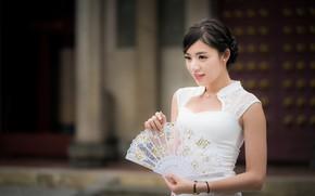 Picture girl, dress, fan, Asian, bokeh