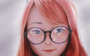 Picture face, smile, glasses, red, blue eyes, grey background, bangs, cat ears, portrait of a girl, …