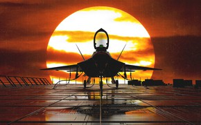 Wallpaper Sunset, The sun, The plane, Fighter, F-22, Raptor, Rendering, F-22 Raptor, Aircraft, Trey Trimble, by ...