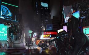 Picture Girl, Night, The city, Street, Motorcycle, Neko