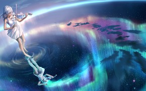 Picture music, girl, water, art, stars, violin, reflection, artwork, playing, musical instrument, violinist, Yuumei