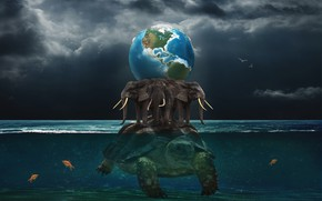 Picture water, fish, the ocean, turtle, Earth, elephants, three elephants
