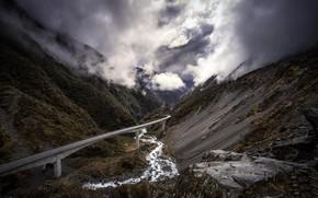 Picture mountains, bridge, New Zealand, Canterbury, Castle Hill Village