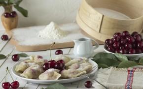 Picture cherry, sugar, flour, dumplings