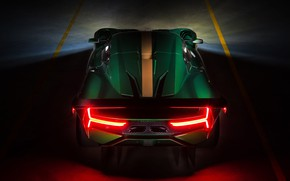 Picture lights, supercar, rear view, 2019, Brabham, BT62
