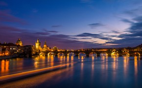 Picture the sky, clouds, bridge, lights, river, home, the evening, Prague, Czech Republic, lights