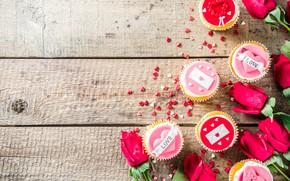 Picture roses, cupcakes, Valentine's Day, Bondarenko Rimma