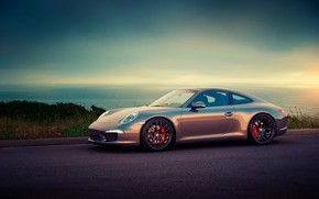 Picture sunset, Sea, Porsche, Car, Porshe 911