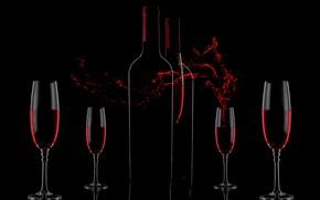 Picture wine, splash, glasses, Wine&Love