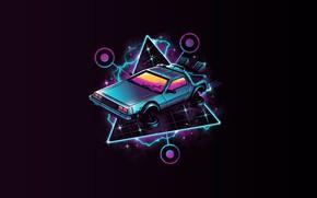 Picture DeLorean DMC-12, DeLorean, DMC-12, Neon, Back to the Future, Synth, Retrowave, Synthwave, New Retro Wave, …