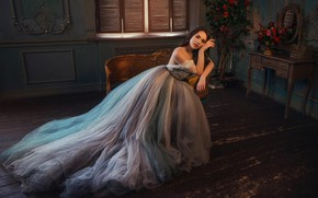 Picture look, girl, pose, photo, room, model, dress, beautiful