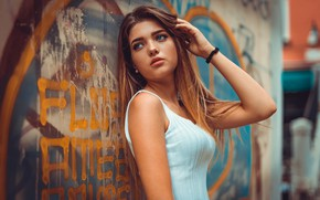 Picture look, girl, face, wall, graffiti, Marco Squassina, Fiorenza