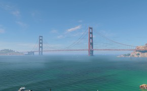 Picture bridge, the ocean, Golden gate, San Francisco, watch dogs 2
