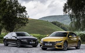 Picture yellow, black, Volkswagen, liftback, Arteon, UK version
