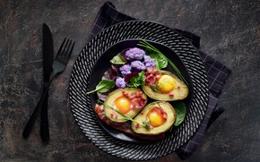 Picture egg, food, Breakfast, avocado, baked