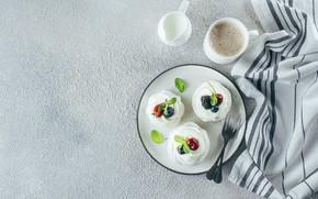 Picture berries, coffee, cream, cake, fruit, cream, meringue