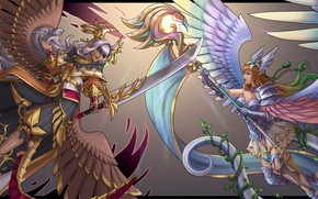 Picture girl, wings, sword, warrior, rod, Joan of Arc, Dragalia, Marishiten