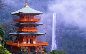 Picture waterfall, Japan, pagoda, Japan, Kyoto, Daygo-ji
