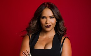 Picture chest, look, girl, face, background, hair, actress, brunette, red, girl, actress, Lesley Ann Brandt, Lesley-Ann …