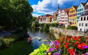 Picture flowers, the city, river, building, home, boats, Germany, promenade, Tübingen, Tübingen, Neckar river, Neckar