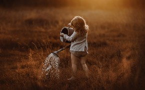 Picture summer, water, nature, girl, lake, baby, watering