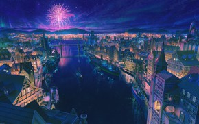 Picture the sky, clouds, night, the city, river, ship, fireworks
